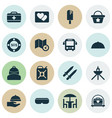 trip icons set with beach bag picture petrol and vector image