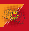versus rivalry fist background vector image vector image