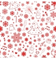 Seamless pattern with snowflakes and xmas symbols vector image