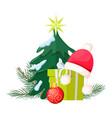 christmas tree near present box and santa cap vector image