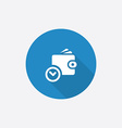 time is money wallet with watch icon Flat Blue vector image