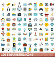 100 e-marketing icons set flat style vector image vector image