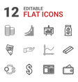 12 money icons vector image vector image