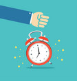 alarm clock and hand concept banner flat design vector image vector image