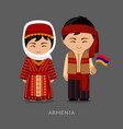 armenians in national dress with a flag vector image vector image