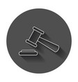auction hammer icon in line style court tribunal vector image vector image