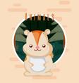 beaver cute animal card vector image