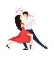 boyfriend and girlfriend dancing tango hearts over vector image