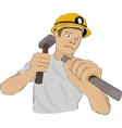 Builder or the miner works with a hammer and a vector image vector image