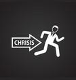businessman escapes crisis on black background vector image