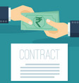 businessman pays indian rupees vector image vector image