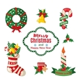 Christmas set with traditional symbols vector image vector image