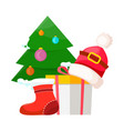 christmas tree near present box and santa cap vector image vector image