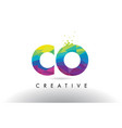 co c o colorful letter origami triangles design vector image vector image