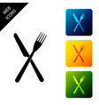 crossed fork and knife icon isolated restaurant vector image vector image