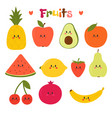 cute hand drawn kawaii fruits healthy style vector image