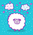 cute sheep on a blue background vector image vector image