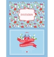 cute wedding invitation card with floral pattern vector image vector image