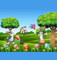easter background with cartoon rabbits playing in vector image vector image