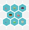 flat icons besom mopping sofa and other vector image vector image