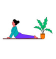 girl doing yoga on fitness mat at home vector image