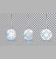 glass christmas balls set with snowflake pattern vector image vector image