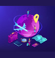 global travelling isometric 3d concept vector image