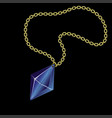 gold chain with precious stone vector image