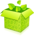 Green gift box with foliage inside vector image