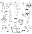Halloween zombie and element in doodle vector image vector image