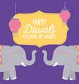 happy diwali festival elephants lanterns vector image vector image