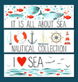 Horizontal banner templates with nautical elements vector image vector image