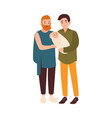 joyful gay couple standing together and holding vector image vector image