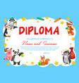 kindergarten school diploma with cute animals vector image