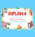 kindergarten school diploma with cute animals vector image vector image