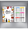 Kitchenware vegetables and cutlery menu design vector image