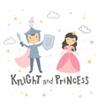 knight and princess standing on white background vector image vector image