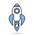 linear simple blue rocket icon isolated on white vector image