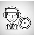 man hand drawing listening music cd vector image vector image