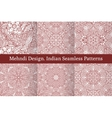 Mehndi henna design seamless patterns vector image
