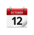 October 12 flat daily calendar icon Date vector image