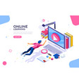 online tutorial template for website vector image