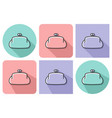 outlined icon of purse with parallel vector image vector image