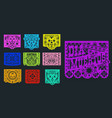 papel picado mexican paper banners pecked flags vector image vector image
