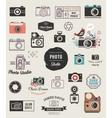 Photographer cameras photo studio icons set