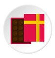 pink box with chocolate icon circle vector image vector image