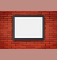 red brick wall with picture frame vector image vector image