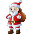 santa claus with carrying sack vector image vector image