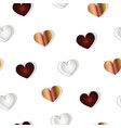 seamless pattern with brown and grey hearts vector image vector image