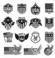 set emblems with usa signs design elements vector image